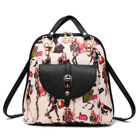 包邮 淑女芭莎背包包女包2016新款潮女双肩包新款学生时尚印花卡通可爱背包