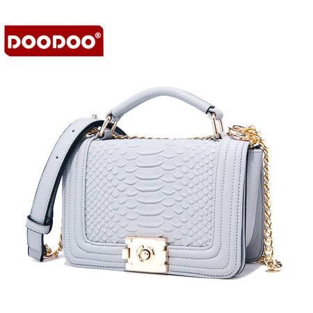 包邮 DOODOO2016新款蛇纹日韩百搭链条斜挎包迷你小方包女包新潮小包包