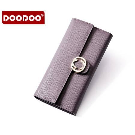 包邮 DOODOO女士真皮钱包女长款搭扣牛皮钱夹大钞夹多功能手拿包皮夹子