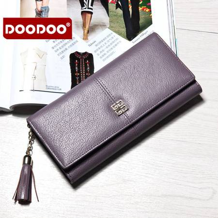 包邮 DOODOO长款真皮钱包 新款2016韩版大容量女式钞夹皮夹女士手拿包