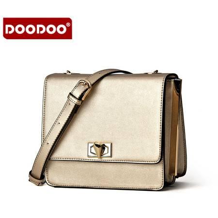 包邮 DOODOO包包2016新款 斜挎包女包小方包迷你锁扣小包包链条单肩包小挎包