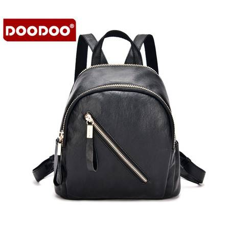 包邮 DOODOO双肩包女包包2016新款休闲旅行包韩版潮双拉链女pu皮小背包