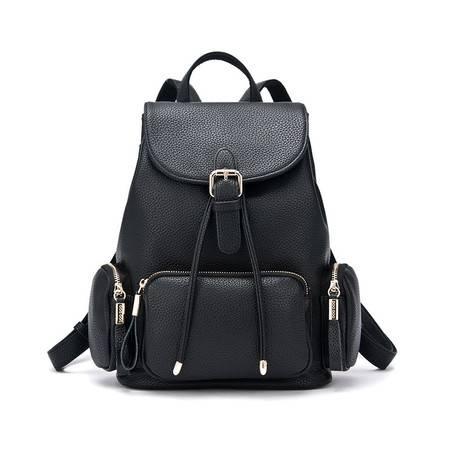 包邮 DOODOO女士双肩包旅行包2016韩版pu时尚简约学院风双肩休闲小背包