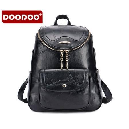 包邮 DOODOO双肩包女背包时尚百搭学院风简约韩版潮流PU软皮休闲旅行包