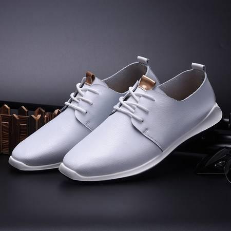秋季新款真皮系带皮鞋耐防滑橡胶底低帮鞋英伦复古时尚休闲鞋男