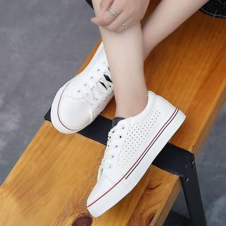 RA2016平底小白鞋女韩版系带帆布鞋女镂空透气学生白色休闲鞋子