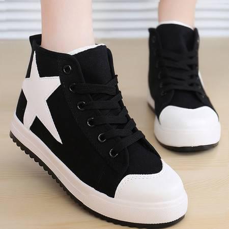 RA帆布鞋女韩版高帮内增高休闲运动布鞋平底学生松糕单鞋板鞋女
