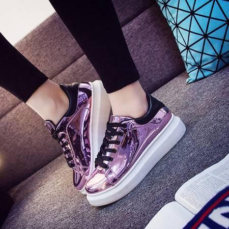 KH韩版皮面休闲鞋女旅游运动鞋女学生松糕鞋女透气板鞋111