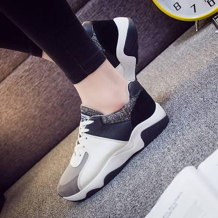 KH新款韩版跑鞋拼色运动鞋厚底松糕鞋平底学生休闲鞋女326