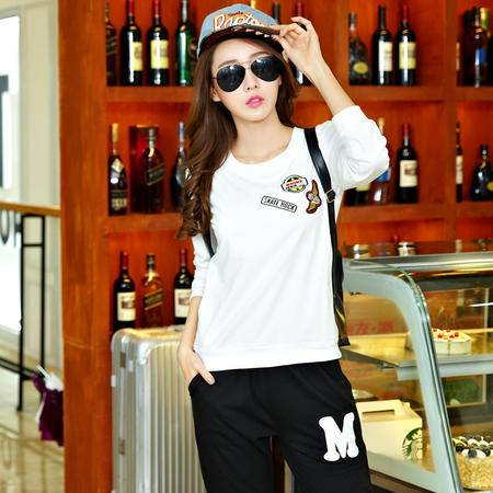 L秋季韩版新款学生时尚休闲卫衣运动女套装大码套头两件套装潮