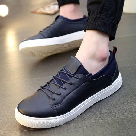 DR秋季韩版白色运动板鞋潮流行男鞋低帮男士休闲鞋子系带小白鞋