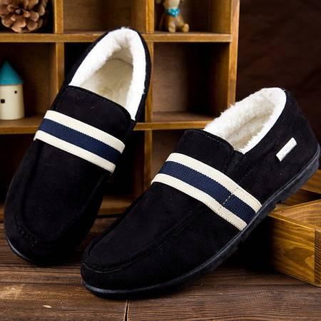 WF冬季男鞋男士黑色驾车休闲鞋潮流豆豆鞋加绒保暖棉鞋C02