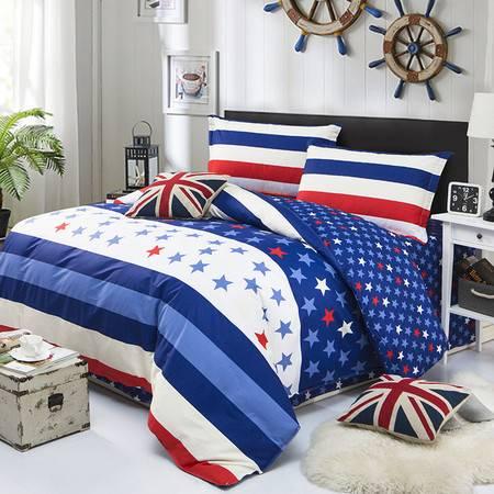 智佳全棉四件套 现代双人纯棉被套 简约床上四件套 200*230