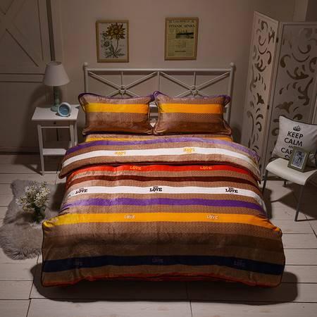 智佳 冬季双面金貂绒四件套珊瑚绒加厚保暖床单被套床上