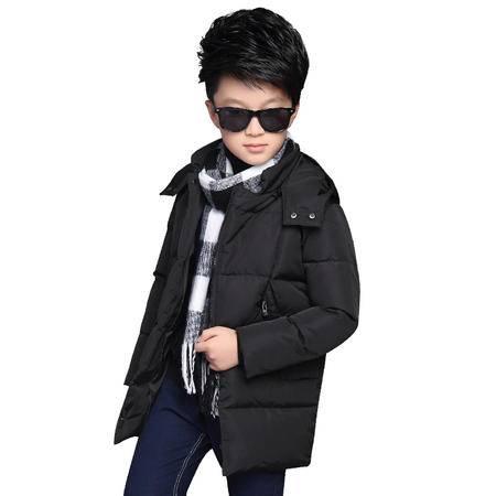 冬季新品中大童韩版棉服外套潮男童时尚纯色带帽棉衣zy