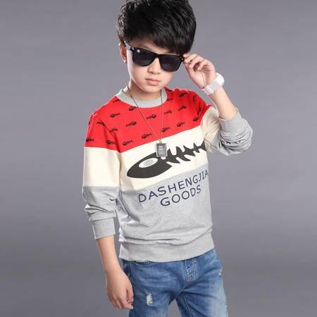 新品冬季男童印花卫衣儿童韩版套头加厚打底衫中大童加绒卫衣zy