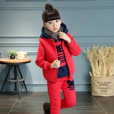 女大童韩版冬装长袖套装女孩冬季新品抓绒带帽卫衣马甲三件套zy