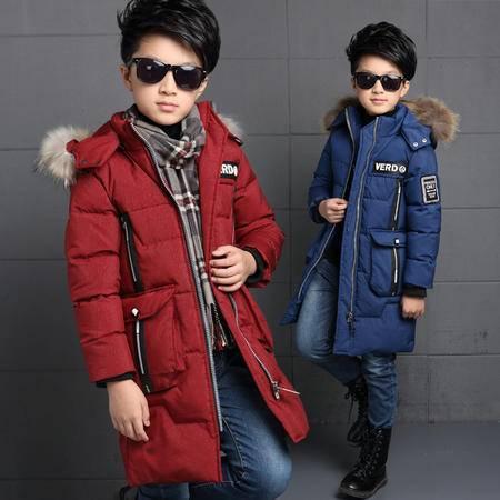 冬季男童时尚字母拉链衫加厚棉衣外套 韩版中长款保暖棉外套zy