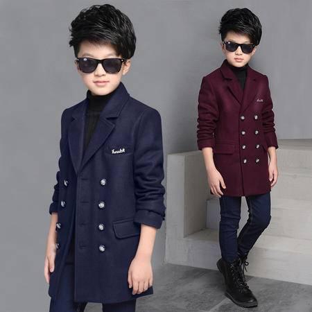 童装男童翻领呢外套冬装中大童韩版毛呢大衣儿童冬季外套zy