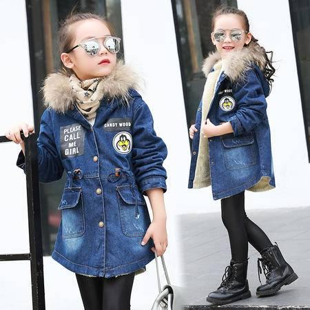 童装新冬装女童韩版加绒加厚牛仔风衣中大童上衣毛领外套zy