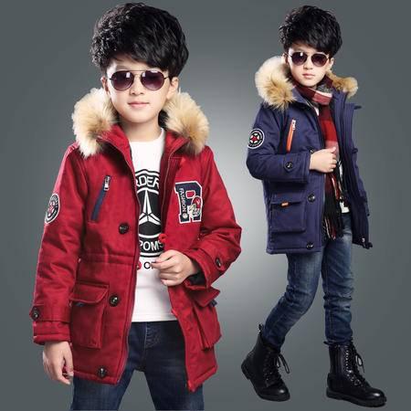 新品中大童冬季外套男童加厚棉服外套儿童韩版中长款带帽棉衣zy