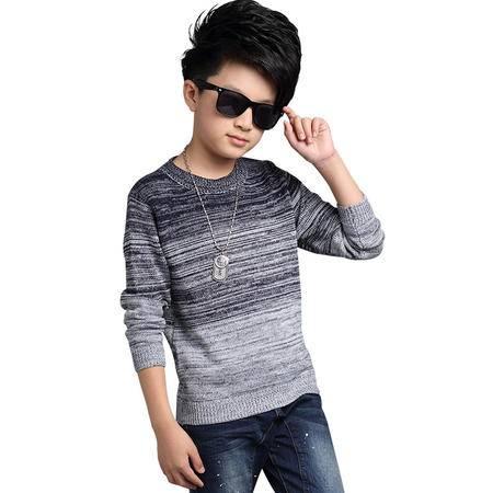 冬季男童时尚渐变色毛衣中大童大码针织衫套头毛衣zy