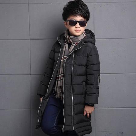 童装冬季男童长款棉服外套韩版纯色带帽加厚拉链衫棉衣zy