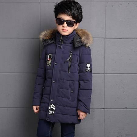 冬装男童棉服2016中大童韩版新款中长款带帽加厚男童棉服外套zy