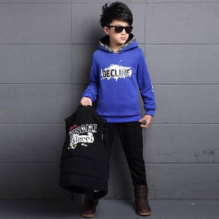潮男童冬装时尚贴标加厚三件套中大童韩版马甲卫衣运动装套装zy