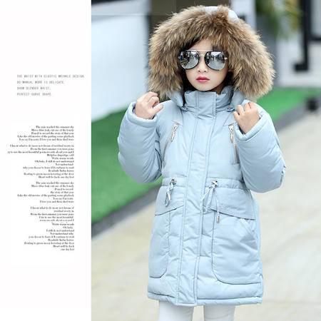 冬装女童韩版中长款貉子毛领棉衣中大童时尚拉链加厚棉服外套zy