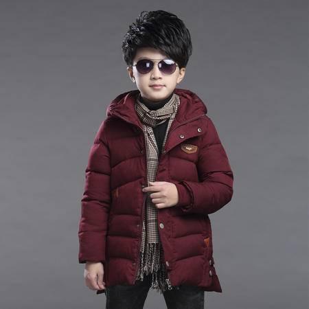 冬季加厚棉衣中大童时尚纯色冬装男童韩版中长款带帽棉衣外套zy