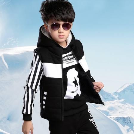 冬装男童字母条纹套装中大童加厚马甲卫衣三件套儿童运动套装zy