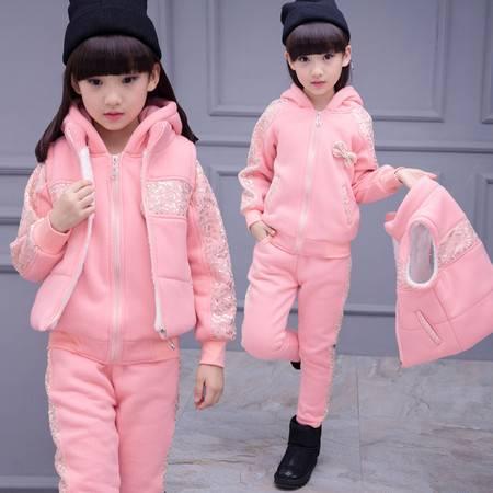 冬装潮女童时尚卫衣马甲三件套儿童韩版新品加厚亮片套装zy