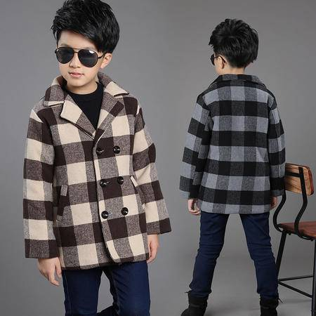 男童呢外套韩版冬季2016新款中大童格子加厚毛呢大衣冬装zy