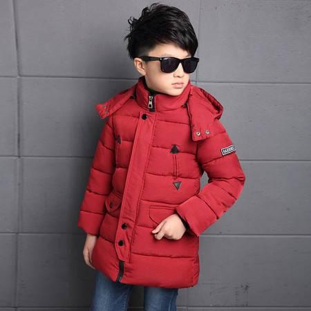 冬装中大童纯色加厚棉服 儿童保暖棉衣男童韩版带帽棉外套zy