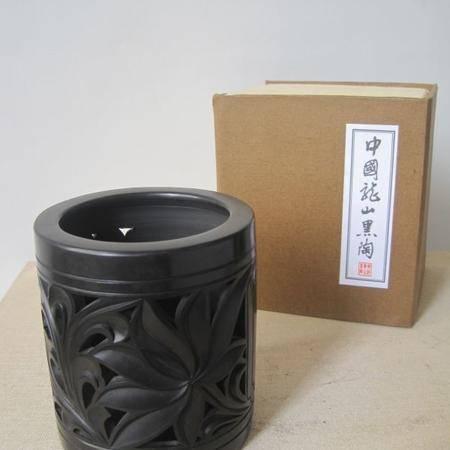 龙山黑陶 笔筒