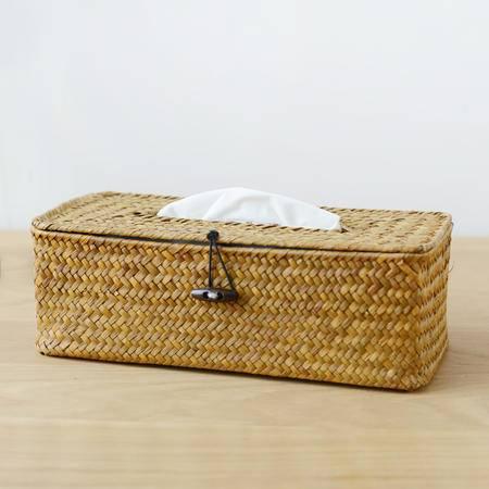 长方形草编洗手间客厅纸巾盒抽纸筒餐巾套日式无印基本良品生活风