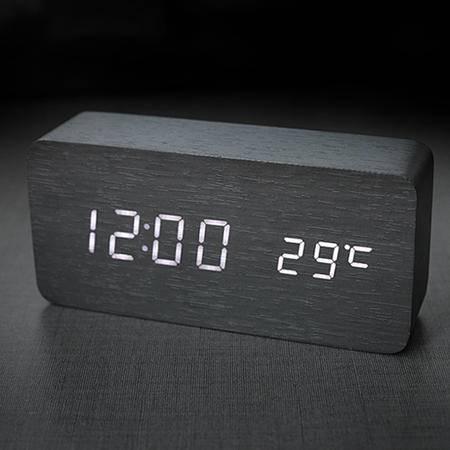 木头钟电子夜光时钟桌钟LED闹钟静音桌钟日式无印基本良品生活风
