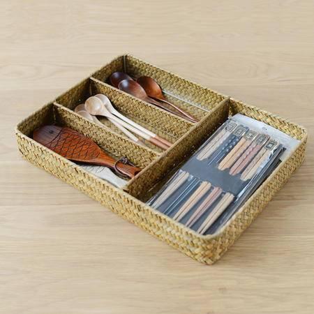 田园草编收纳筐桌面杂物餐具箱文具盒首饰日式无印基本良品生活风