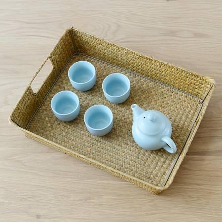 草编果盘杂志收纳盒茶具餐具文具首饰托盘日式无印基本良品生活风