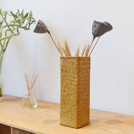草编柱形花瓶花盆花器花篮插花家居摆设装饰日无印基本良品生活风