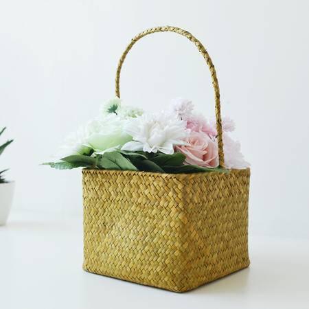 草编田园花瓶花盆花器方形收纳篮花篮展示日式无印基本良品生活风