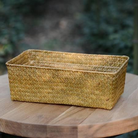 草编桌面杂物化妆品收纳箱篮首饰盒整理筐文具无印基本良品生活风