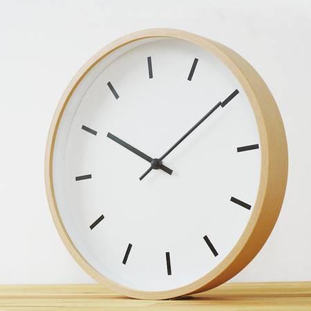 榉木简约客厅静音石英挂钟时钟 精工机芯 日式无印基本良品生活风