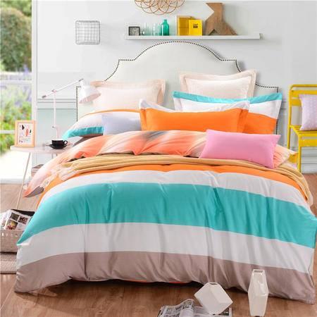贝得赫 床上用品全棉四件套 纯棉斜纹条格简约四件套1.5米/1.8米床通用