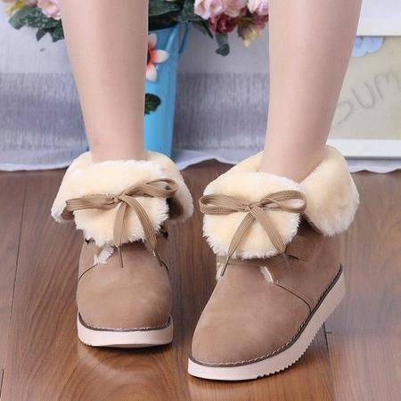 木槿 秋冬磨砂系带短靴女平底平跟加绒保暖靴学生雪地靴大码女棉鞋靴子