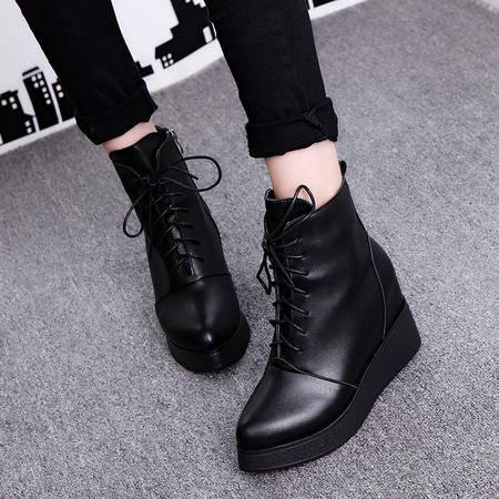 木槿 短靴女秋冬季2016新款欧美尖头真皮马丁靴坡跟内增高高跟女靴子潮
