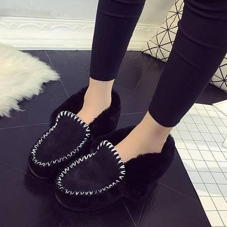 木槿 手缝线毛毛鞋2016冬季女鞋圆头磨砂牛皮保暖单鞋雪地棉鞋