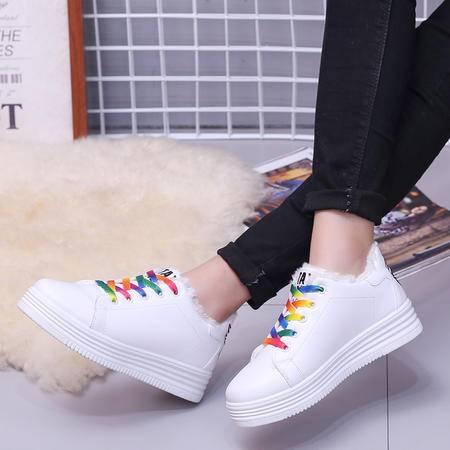 木槿 同款鞋韩版休闲鞋厚底松糕鞋系带运动鞋女夏麦昆小白鞋潮女