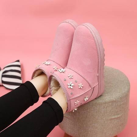 木槿 雪地靴女短筒短靴平底学生棉靴子甜美花朵粉色面包鞋冬季厚底女鞋